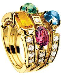 bvlgari allegra threeband 18ct yellowgold pink tourmaline peridot