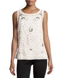 Carolina Herrera Bead & Sequin Embellished Blouse white - Lyst