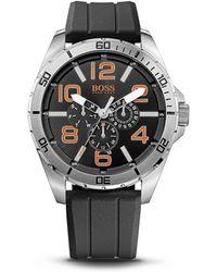 BOSS Orange -  Chronograph Silicon Black Logo Strap Watch - Lyst