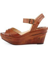 Frye Carlie Seam Leather Wedge Sandal - Lyst