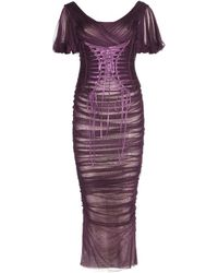 Dolce & Gabbana Ruched Silk Dress - Lyst