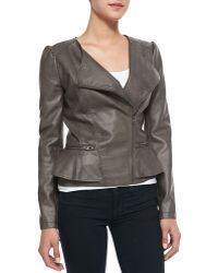 Cusp Peplum Asymmetric-zip Faux-leather Jacket - Lyst