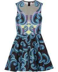 Holly Fulton - - Kiki Printed Cotton-blend Mini Dress - Navy - Lyst