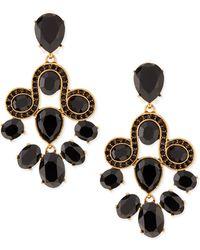 Oscar de la Renta Golden  Faceted Crystal Chandelier Earrings - Lyst