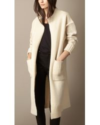 Burberry Guernsey Detail Wool Cardigan Coat - Lyst