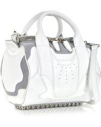 Alexander Wang Sneaker Rockie Optic White And Light Concrete Satchel Bag W/Rhodium Studs - Lyst