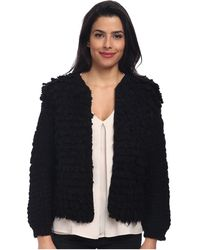 Trina Turk Black Shaggy Jacket - Lyst