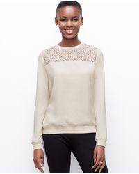 Ann Taylor Petite Lacy Woven Sweatshirt - Lyst