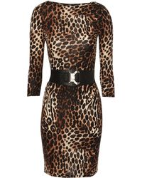 Jane Norman Belted Animal Print Bodycon Dress - Lyst