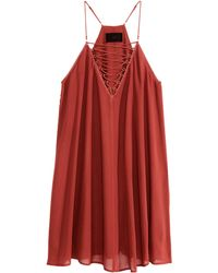 H&M Flared Dress red - Lyst