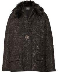 Lanvin Faux Furtrimmed Metallic Woolbrocade Coat - Lyst