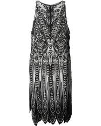 Roberto Cavalli Scallop Hem Printed Dress - Lyst