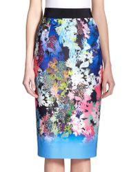 Milly Floral-Print Neoprene Pencil Skirt - Lyst