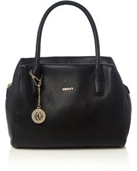 DKNY Tribeca Black Top Zip Satchel Bag - Lyst