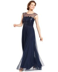Js Collections Floralsequin Illusion Gown - Lyst