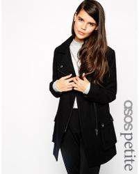 Asos Exclusive Biker Coat In Wool With Pockets - Lyst