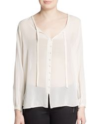 Joie Denise Bead-Trimmed Silk Blouse - Lyst