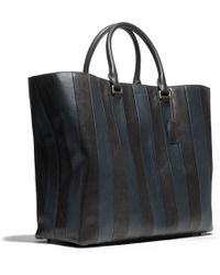 Coach Bleecker Shopper In Bar Stripe Leather - Lyst