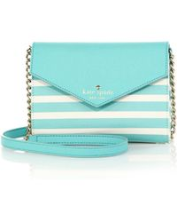 Kate Spade Fairmount Square Monday Striped Saffiano Leather Crossbody Bag teal - Lyst