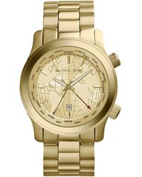 Michael Kors Midsize Goldenhorn Stainless Steel Runway Threehand Watch - Lyst