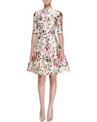 Oscar de la Renta Half-Sleeve Floral-Print Shirtdress - Lyst