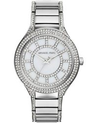 Michael Kors Midsize Silver Color Stainless Steel Kerry Threehand Glitz Watch - Lyst