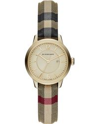 Burberry Goldtone Ip Stainless Steel & Check Strap Watch/32Mm - Lyst