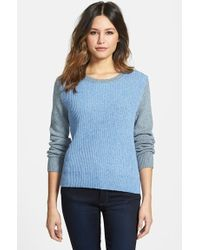 Nordstrom Collection Colorblock Ribbed Crewneck Sweater - Lyst