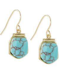 French Connection Gold-Tone Stone Drop Earrings - Lyst