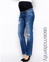 Asos Maternity Boyfriend Jean With Distressed Rips And Over The Bump Waistband - Lyst