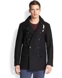 F. Faconnable Wool Blend Peacoat - Lyst