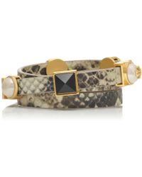 Tory Burch Triple-wrap Pearl Charm Logo Stud Bracelet - Lyst