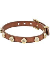 Michael Kors Pavéembellished Leather Buckle Bracelet - Lyst