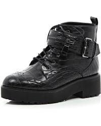 River Island Black Chunky Snake Print Lace Up Boots - Lyst