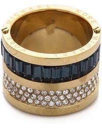 Michael Kors Pave  Baguette Barrel Ring - Goldclearmontana - Lyst