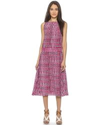 Tory Burch Silk Tea Length Dress - Pink Sonda - Lyst