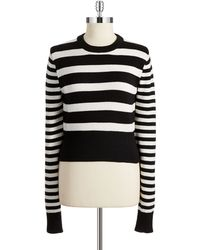 Michael by Michael Kors Petite Striped Cropped Pullover - Lyst