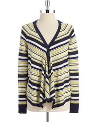 Anne Klein Striped Flyaway Cardigan - Lyst