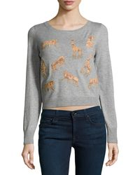 Diane Von Furstenberg Praia Cropped Animal-applique Sweater - Lyst