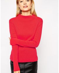 Asos Sweater In Rib With Turtleneck - Lyst