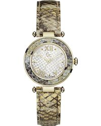 Gc - Y10003l1 Lady Chic Stainless Steel And Leather Watch - Lyst
