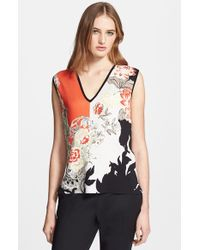 Etro Colorblock Floral Print Silk Sweater - Lyst
