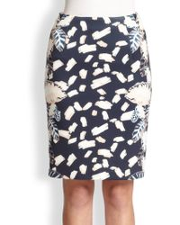 Opening Ceremony Leaf-Print Scuba Jersey Pencil Skirt - Lyst