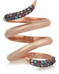 Katie Rowland | Twisted Rose Gold-plated Crystal Ring | Lyst