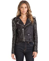 Maison Scotch Studded Leather Jacket - Lyst