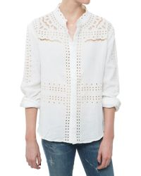 Sea Embroidered Button Up - Lyst