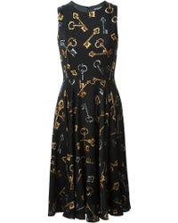 Dolce & Gabbana Key Print Flared Dress - Lyst
