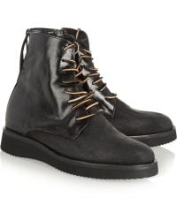 Esquivel Dublin Distressed Leather and Canvas Ankle Boots - Lyst