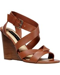 Steven By Steve Madden Mariia Leather Wedge Sandals - Lyst