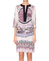 Etro Printed Silk Dress With V Neckline - Lyst